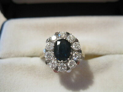 Saphirring Diamantring WG 750 Lady Di Ring Diamanten 1 ct. Safir 0,80 Damenring