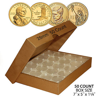 50 SACAGAWEA DOLLAR Direct-Fit Airtight 26mm Coin Capsule Holder QTY: 50 w/ BOX