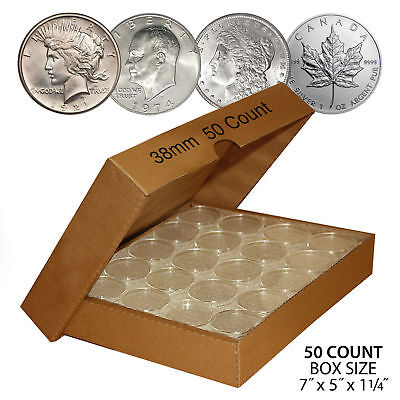 50 PEACE DOLLAR Direct-Fit Airtight 38mm Coin Capsule Holder (QTY: 50) with BOX