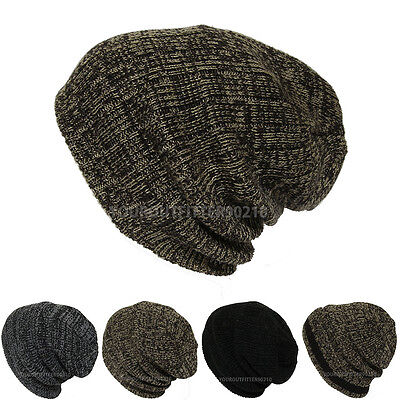 Mens Womens Crochet Knit Cuff / Heavy Thick Baggy Beanie Slouch Ski Cap New