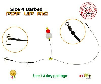 Size 4 Barbed Pop Up Wire Trace BUY 4 & GET 1 FREE Pike Fishing Dead Bait Rig