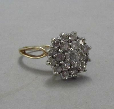 14k Yellow Gold Diamond Cluster Ring 70 Points Size 6.5