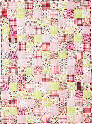 Room Seven Quilt Patchwork pink multicolour 110x150 girls Tagesdecke Neu