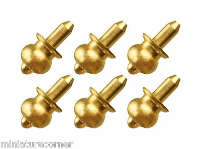 6 Brass Door Knobs 4.5mm Dolls House 1/12th Scale Miniature Handles