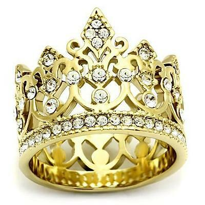 Stainless Steel Gold Plate Princess Tierra Crown Crystal Wide band Ring
