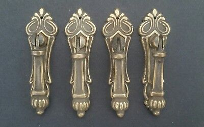 "4 Antique Style Vertical Brass Ornate Pendant Drop Pull Handles 3 1/4"" #H7"