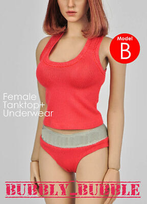 1/6 Tank Top Underwear RED For Phicen Hot Toy Kumik Female Body SHIP FROM USA