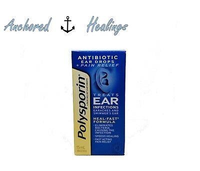 Polysporin Antibiotic Ear Drop Pain Relief Treats Ear Infections 15mL Exp. 05/20