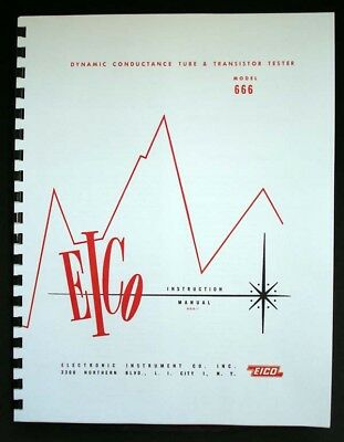 EICO 666 Tube Tester Manual with 1978 Test Data