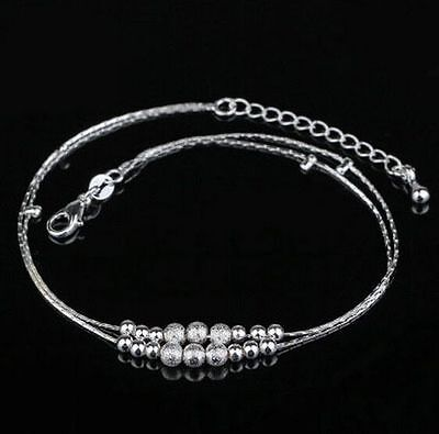 Double Layer 925 Sterling Silver Beaded Ankle Anklet Chain Bracelet Foot Jewelry
