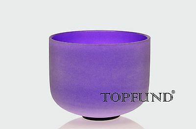 432Hz Perfect Pitch B Crown Chakra Purple Frosted Crystal Singing Bowl 8''