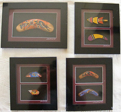Aboriginal Art Framed Artifact - Boomerang - Double Small - bottom right