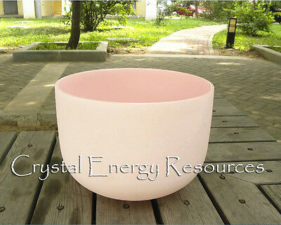 """Pink  F Heart Chakra Frosted Quartz Crystal Singing Bowl 12""""+Mallet+O-ring"""