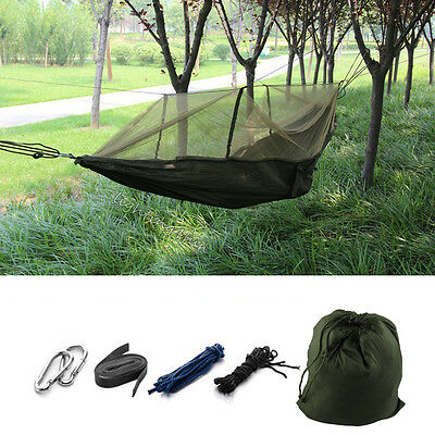 Outdoor Travel Jungle Camping Double Hammock Hanging Parachute Bed Mosquito Net