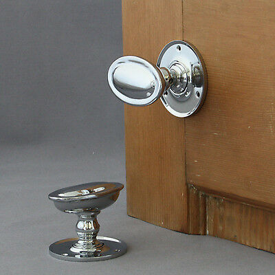 Edwardian Chrome Oval Door Knobs