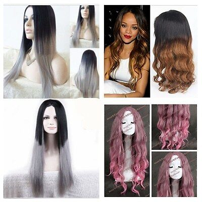 New Womens Wig Costume Short Long Straight Curly Synthetic Hair Grey Black Wigs