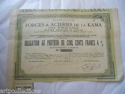 1901 Russie Franco Russe Forges Acierie Russia Obligation 500F 4%