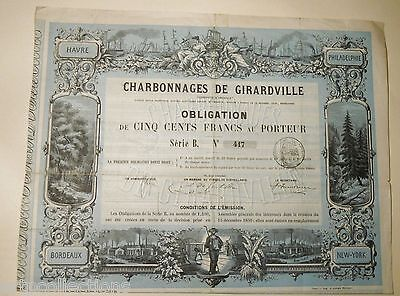 1859 Obligation Charbonnages Girardville France Etats Unis Bordeaux Havre New Yo