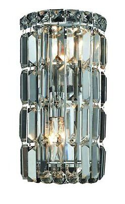 "Elegant Lighting Maxim 12"" High 2-Light Wall Sconce- Chrome Finish with Crystal"