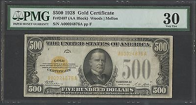 Fr2407 $500 1928 Gold Note Woods / Mellon Pmg 30 Vf Wlm1190