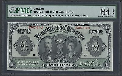 CANADA DC-18d-i $1 1911 WITH HYPHEN PMG 64 UNC WLM1200