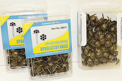 1200  Hammered Antique Brass #9H Upholstery Nails Tacks Studs BullDog HardWare