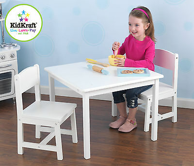 Kidkraft Kids Aspen Solid Wood Table and 2 Chairs Set - White 21201