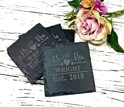 Personalised Engraved Set of 4 Natural Slate Mr & Mrs Coasters Wedding Gift