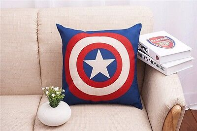 Cotton Linen Captain America Throw Pillow Case Cushion Cover sofa pillowslip 45
