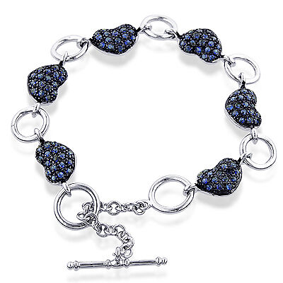 4.00 Carat Created Blue Sapphire Heart Bracelet in Sterling Silver - 7.5""