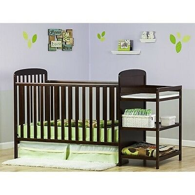Dream On Me 4-in-1 Full Size Crib and Changing Table Combo in Espresso