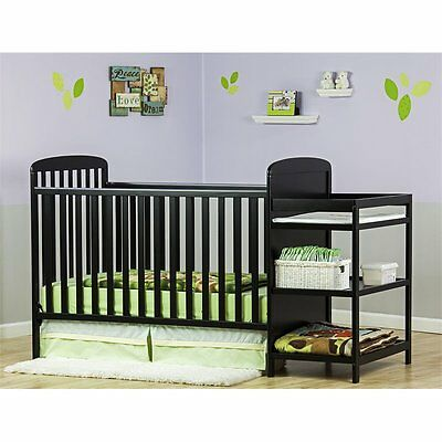 Dream On Me 4-in-1 Full Size Crib and Changing Table Combo in Black