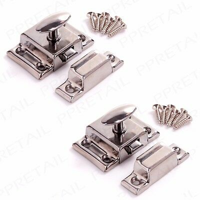 2 x CHROME SPRUNG CUPBOARD TURN LATCH + Screws Desk/Cabinet Door Catch Lock PAIR