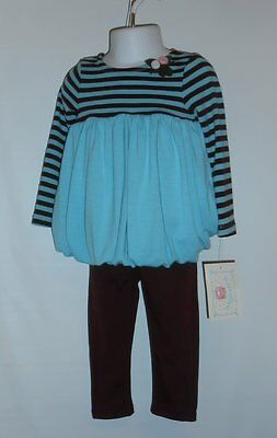 Marmellata Toddler Girls Bubble Top & Pant Set Turquoise & Chocolate 2T NWT