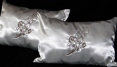 Church Wedding Kneeling Pillows Shower Gift White Satin Calla Lilly Embroidery