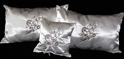 Church Wedding Kneeling Pillows and Ring PIllow Satin Calla Lilly Embroidery