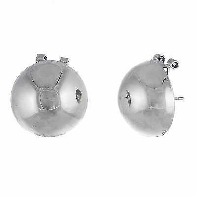 Silver-Tone Stainless Steel Half Ball Omega Earring