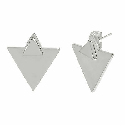 Silver-Tone Stainless Steel Double Triangle Front Back Post Earring