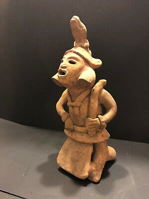 "Pre Columbian Authentic Mayan 11"" Statue With Snake And Iguana Please See Photos"