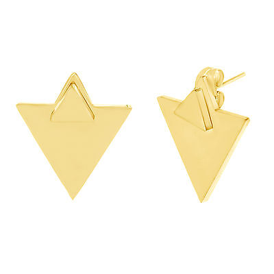 Gold-Tone Stainless Steel Double Triangle Front Back Post Earring