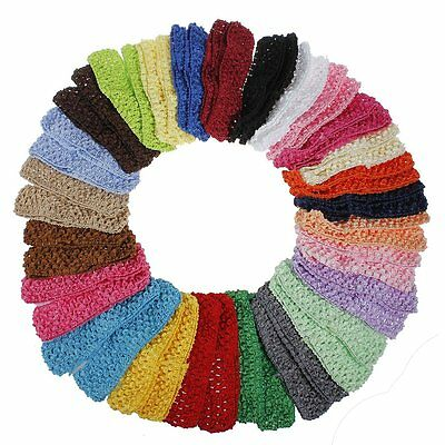 50 Bulk Baby Crochet Hairband Girls Toddler Elastic Headband Hair Head Band
