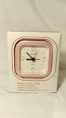 NEW OLD STOCK WITH BOX Bulova Pink Quartz Travel Alarm Clock With Box