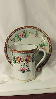 Antique Hand Painted Nippon Cup And Saucer Set Flowers Beaded Design