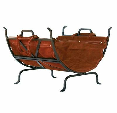New Home Durable Decorative Firewood Rack with Removable Leather Log Carrier