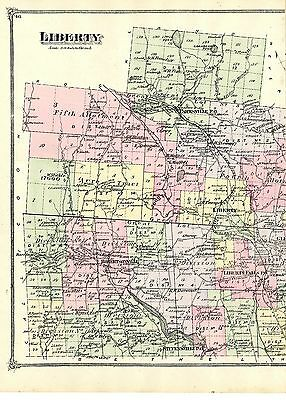 1875 Liberty NY map, from Beers' Atlas of Sullivan County, New York - original