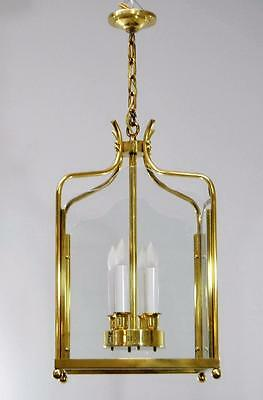 Vintage Williamsburg Brass and Glass Square Chandelier
