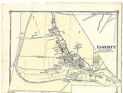 1875 Liberty village NY map, from Beers' Atlas of Sullivan County, New York