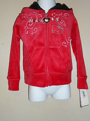 Hello Kitty by Sanrio Toddler Girls Sherpa Lined Hood Velour Hoodie Red 2T NWT