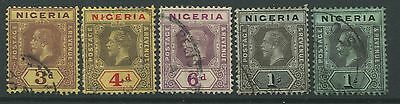Nigeria KGV 1914 values from 3d to 1/ CDS used
