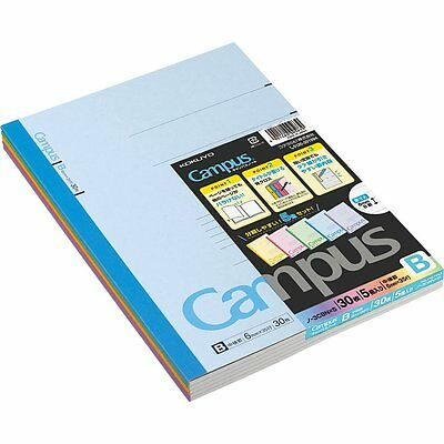 "Kokuyo Campus Notebook Semi B5(""9.8×""7)- 6 mm-35Lines X 30Sheets - Pack of 5"